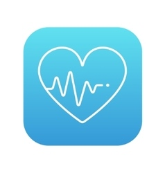 Heart with cardiogram line icon vector