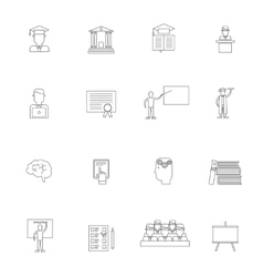 higher education icon outline set vector image