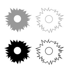 Hole from shot icon set grey black color vector