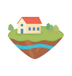 House trees grass soil layer water underground vector