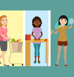 housewifes homemaker woman banners cute cleaning vector image