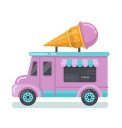 Ice cream van flat vector
