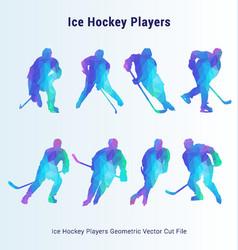 Ice hockey players geometric pack vector