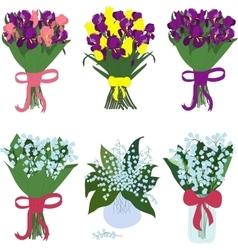 Iris and lilies of the valley bouquets vector