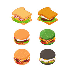 isometric burgers and sandwich fast food pictures vector image