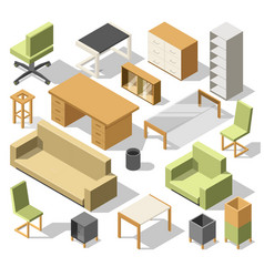 isometric office furniture 3d cabinet with table vector image