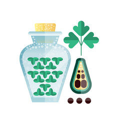 jar of parsley spice herb abd peppercorns vector image