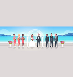 just married bride and groom with bridesmaids vector image