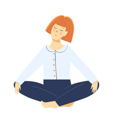 lady in lotus yoga pose meditating relaxing vector image