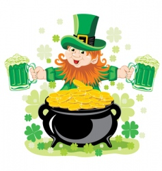 leprechaun with mug of beer vector image vector image