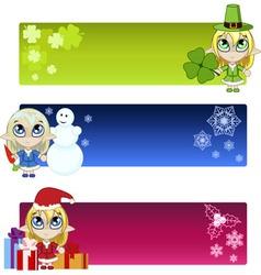 Little elf banners vector image