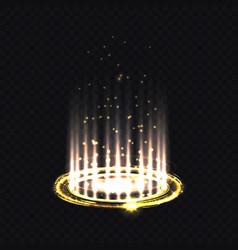Magic yellow portal and hologram ray projector vector