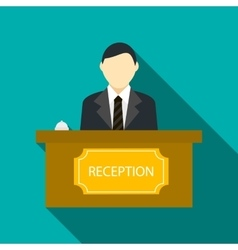 Male receptionist at hotel reception icon vector