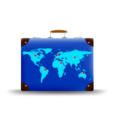 map world depicted on suitcase vector image