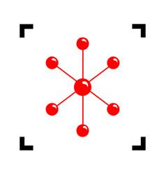 molecule sign red icon vector image