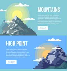 Mountaineering agency flyers with high peaks vector