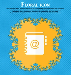 Notebook address phone book icon Floral flat vector image