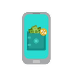 Online deposits mobile banking flat vector