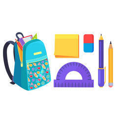 Open school bag with stationary element accessory vector