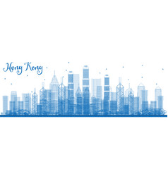 outline hong kong china skyline with blue vector image