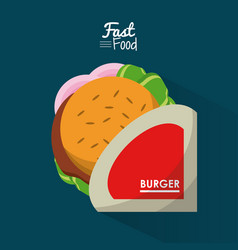 poster fast food in blue background with personal vector image