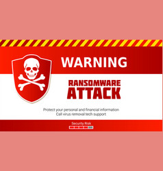 Ransomware virus warning of malware attack skull vector
