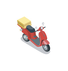 red scooter with pizza boxes vector image