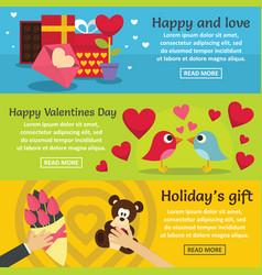 Saint valentine banner horizontal set flat style vector