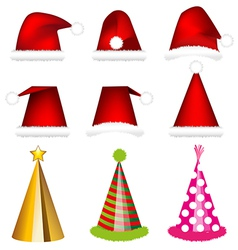 Santa cap and party cap vector image