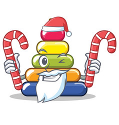 santa with candy pyramid ring character cartoon vector image
