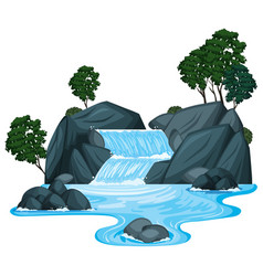 Scene with waterfall and river running down vector