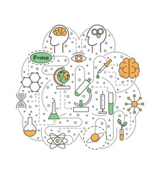 science brain shaped flat line art vector image