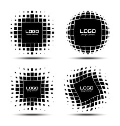 Set abstract halftone logo design elements vector
