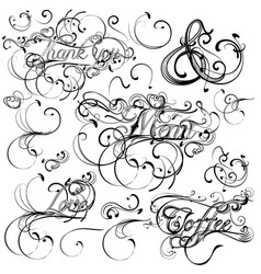 set of calligraphic elements and page decorations vector image