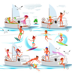 set of happy adults with different summer vector image