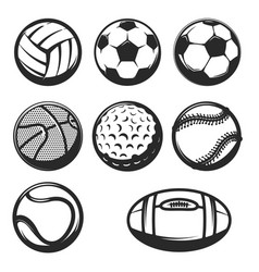 Set of sport balls icons isolated on white vector