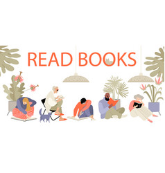 Set people reading books vector
