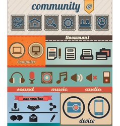 Set retro social media icons vector