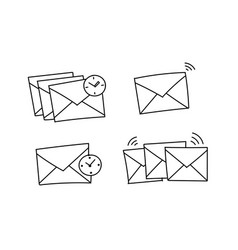 Several envelopes waiting to be send closed vector