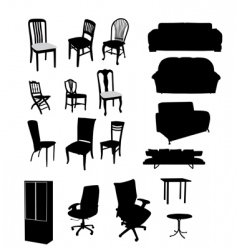 silhouettes furniture vector image