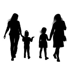 silhouettes of young mothers with daughters vector image