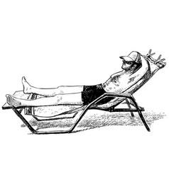 Sketch man sunbathing on lounger on seashore vector