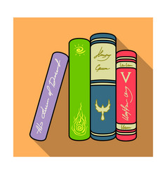 Standing books icon in flat style isolated on vector