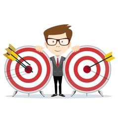 Successful businessman or teacher holding a target vector image
