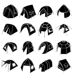 Tent forms icons set simple style vector
