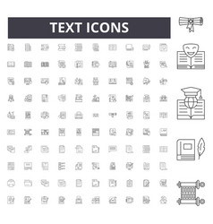 text line icons signs set outline vector image
