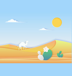 Trendy paper cuted style desert landscape with vector