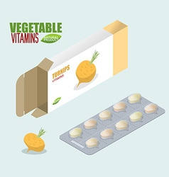 Turnip pills in pack Vegetarian vitamins Tablets vector image