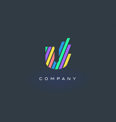 U letter logo with colorful lines design rainbow vector