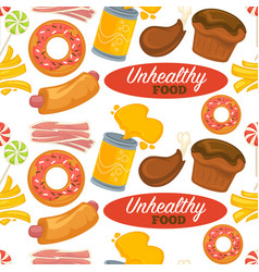 Unhealthy processed food pattern with delicious vector